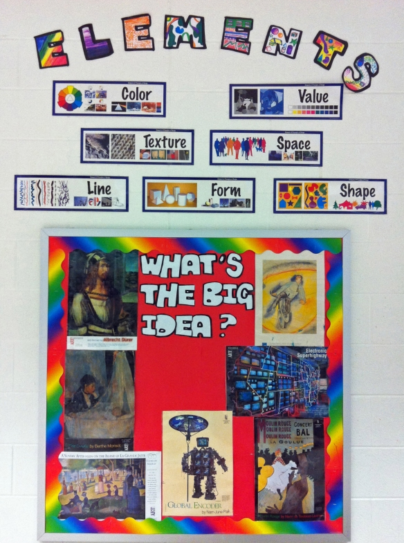 elements and big idea bulletin board display