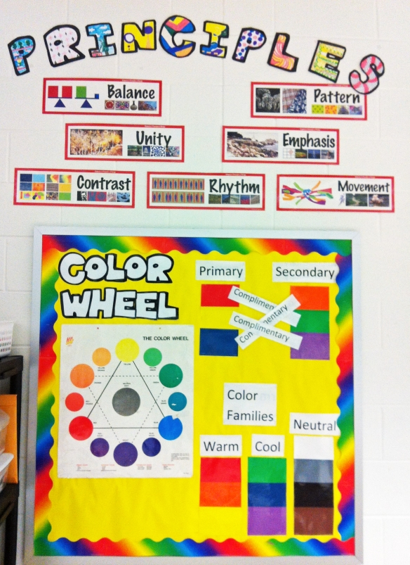 principles and color bulletin board display