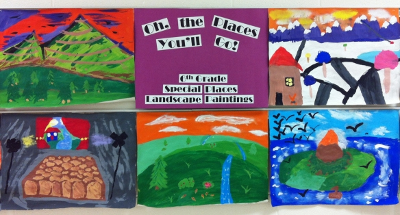 6th grade landscape paintings hallway